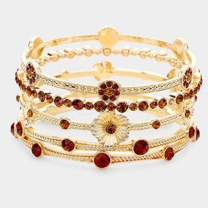 5pcs Crystal Station Flower Stack Bracelets-Flower